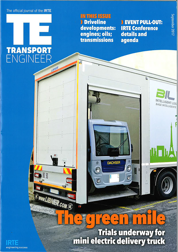 Page de couverture du magazine Transport Engineer
