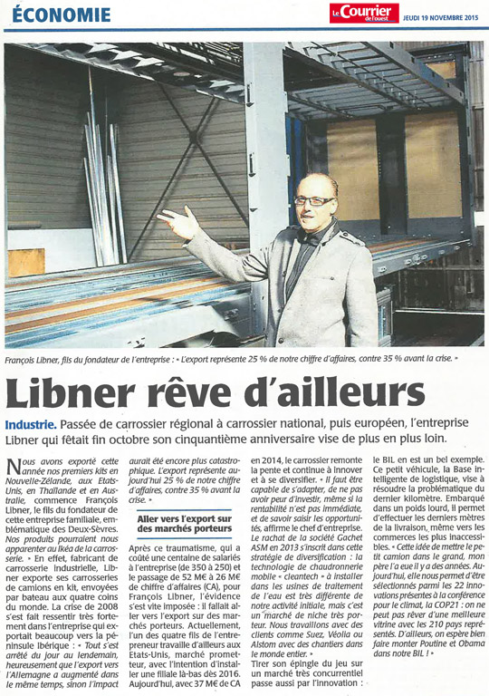 Article du Courrier de l'Ouest Economie